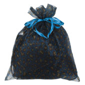 """10"""" x 12"""" Organza Leopard Pouch-Sold by 6 Pieces (Individually Packed) (Turquoise/Yellow)"""