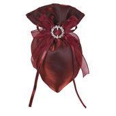 """3""""x5"""" Oval Tow Tone Shimmer Diamond Pouch- Sold by 6 Pieces ( Individually Packed) (Wine)"""