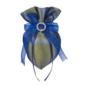 """3""""x5"""" Oval Tow Tone Shimmer Diamond Pouch- Sold by 6 Pieces ( Individually Packed) (Royal Blue)"""