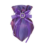 """3""""x5"""" Oval Tow Tone Shimmer Diamond Pouch- Sold by 6 Pieces ( Individually Packed) (Purple)"""