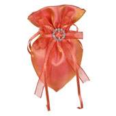 """3""""x5"""" Oval Tow Tone Shimmer Diamond Pouch- Sold by 6 Pieces ( Individually Packed) (Peach)"""