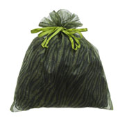 """10""""x 12"""" Organza Zebra Pouch - Sold by 6 Pieces (Individually Packed) (Apple Green/Black)"""