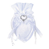 """3""""x5"""" Oval Diamond Wedding Pouch - Sold By 6 Pieces (Individually Packed)  (White)"""