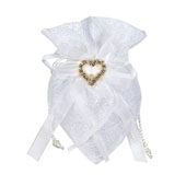 """3""""x5"""" Oval Diamond Wedding Pouch - Sold By 6 Pieces (Individually Packed)  (Antique White)"""