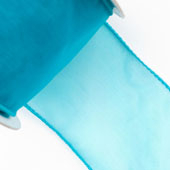 """2 1/2"""" Wired Organza Ribbon - 10 Yards (Turquoise)"""