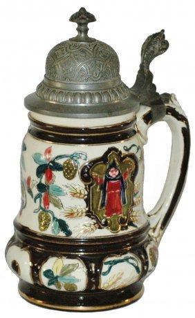 Lot Antique Steins, Lamps, Cast Iron Banks, Etc