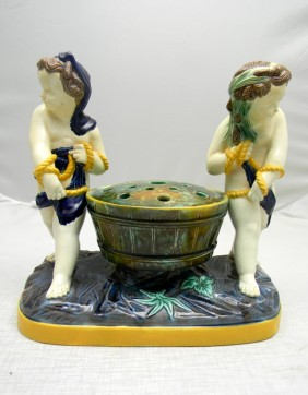Lot Sterling Silver & Majolica Pottery Auction