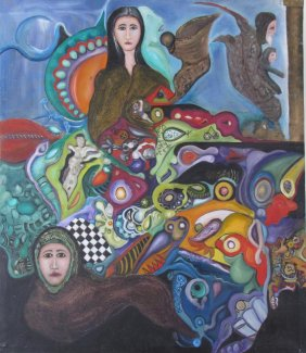 Lot L Zarei Iranian Surrealist Art, Online Only