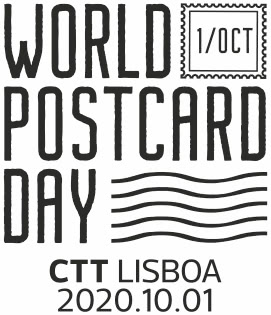 Special cancellation mark by Portuguese Post, featuring the World Postcard Day logo and date