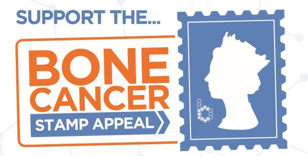 A banner reading: Support the bone cancer stamp appeal, next to the logo of the BCRT (the Queen's profile inside of a stamp