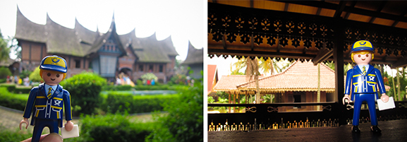 A Padang (Sumatra) house on the left and a Betawi house on the right