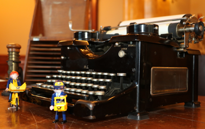 Old typewriter on the postmaster's desk
