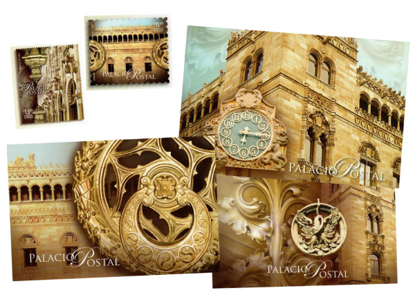 A selection of themed postcards about the Palacio Postal