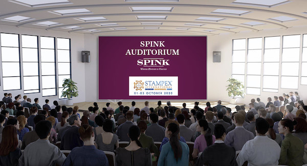 A virtual auditorium filled with people looks onto a screen
