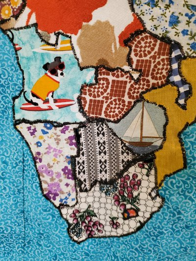 An African detail of the world quilt map