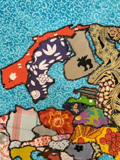 A detail from northern Europe, in the world quilt map