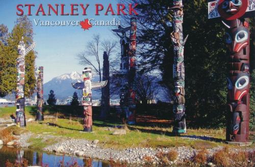Native totems in Stanley Park, Vancouver, British Columbia, Canada