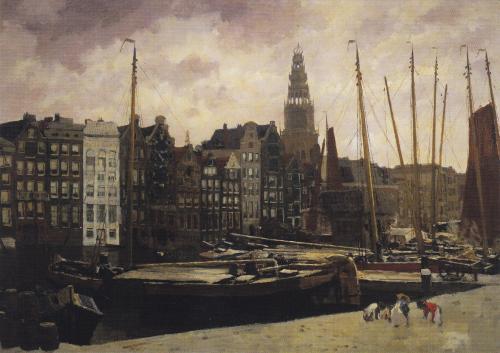Het Damrak te Amsterdam | The Damrak, Amsterdam, c. 1903 George Hendrik Breitner