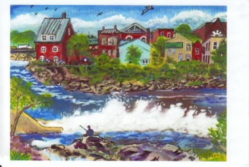 Painting of Skowhegan, Maine, by local artist Iver Lofving. Read about him here: http://www.msad54.org/sahs/appliedarts/artlofving/IL/PortWebIL/manifesto.html
