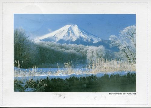 A winter scene of Mt. Fuji from Oshino village.