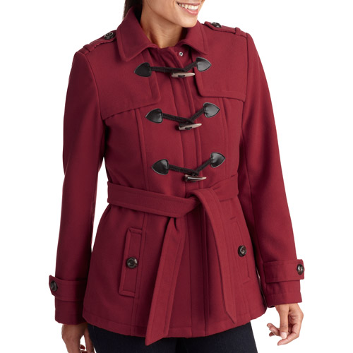 George Womens Faux Wool Belted Toggle Coat