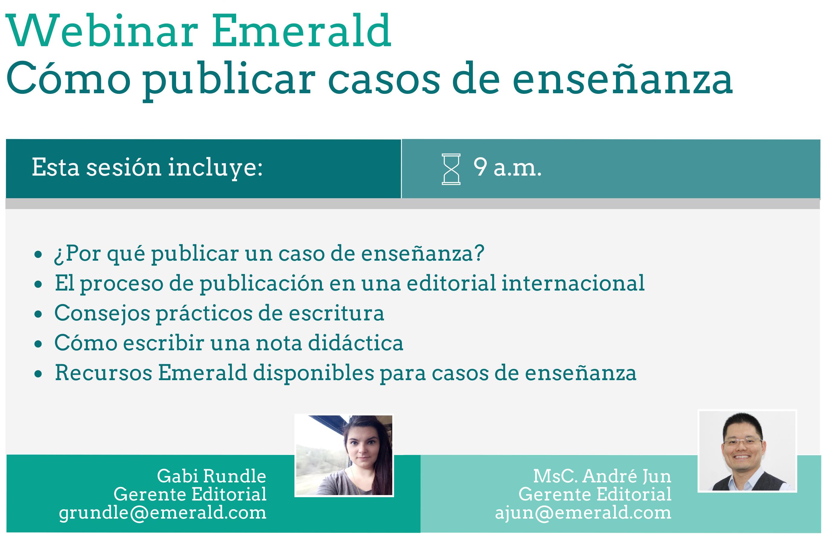 Webinar Emerald: 'Como publicar casos de enseñanza'