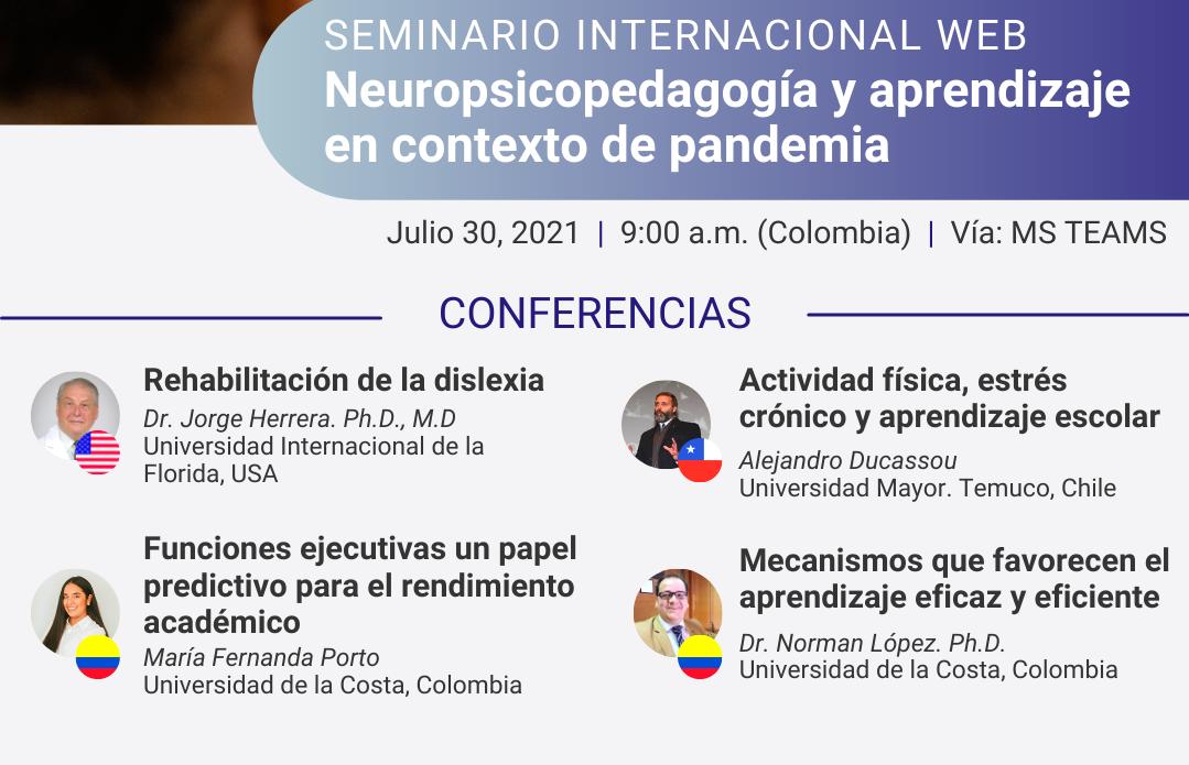"""Seminario internacional web """" Neuropsicopedagogía y aprendizaje en contexto de pandemia"""""""