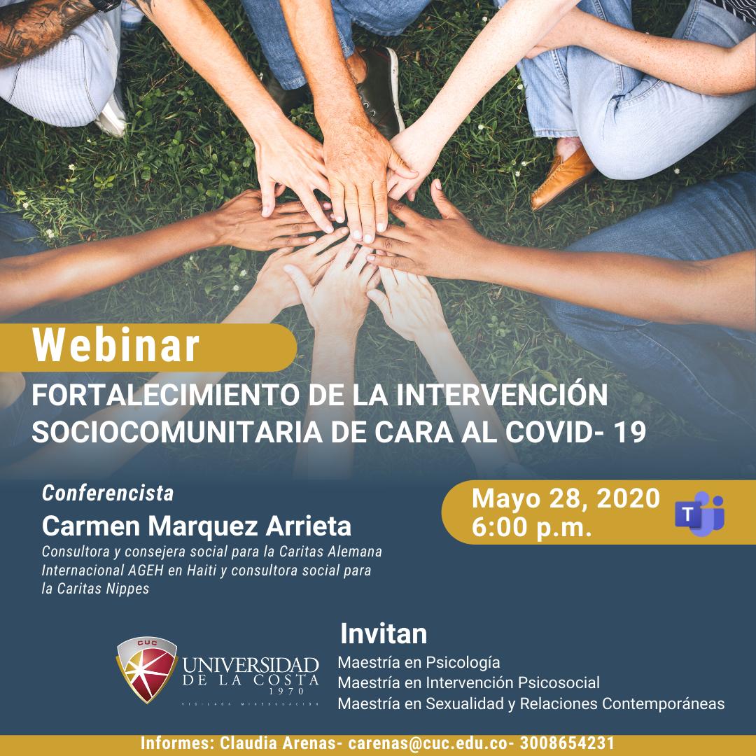 """Webinar """"Fortalecimiento de la intervención sociocomunitaria de cara al Covid-19"""