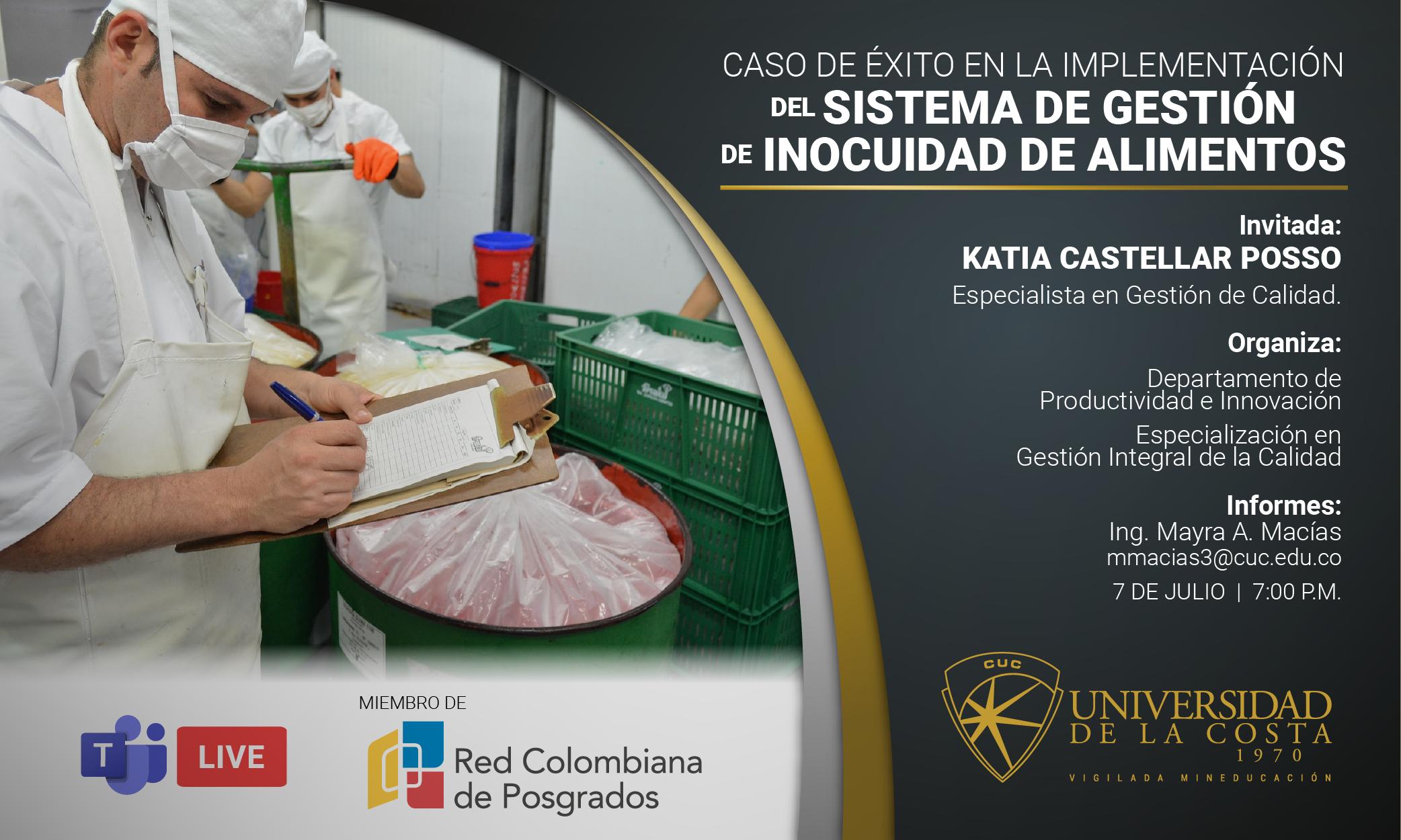 """Webinar """"Caso de éxito en la implementación del sistema de gestión de inocuidad de alimentos"""""""