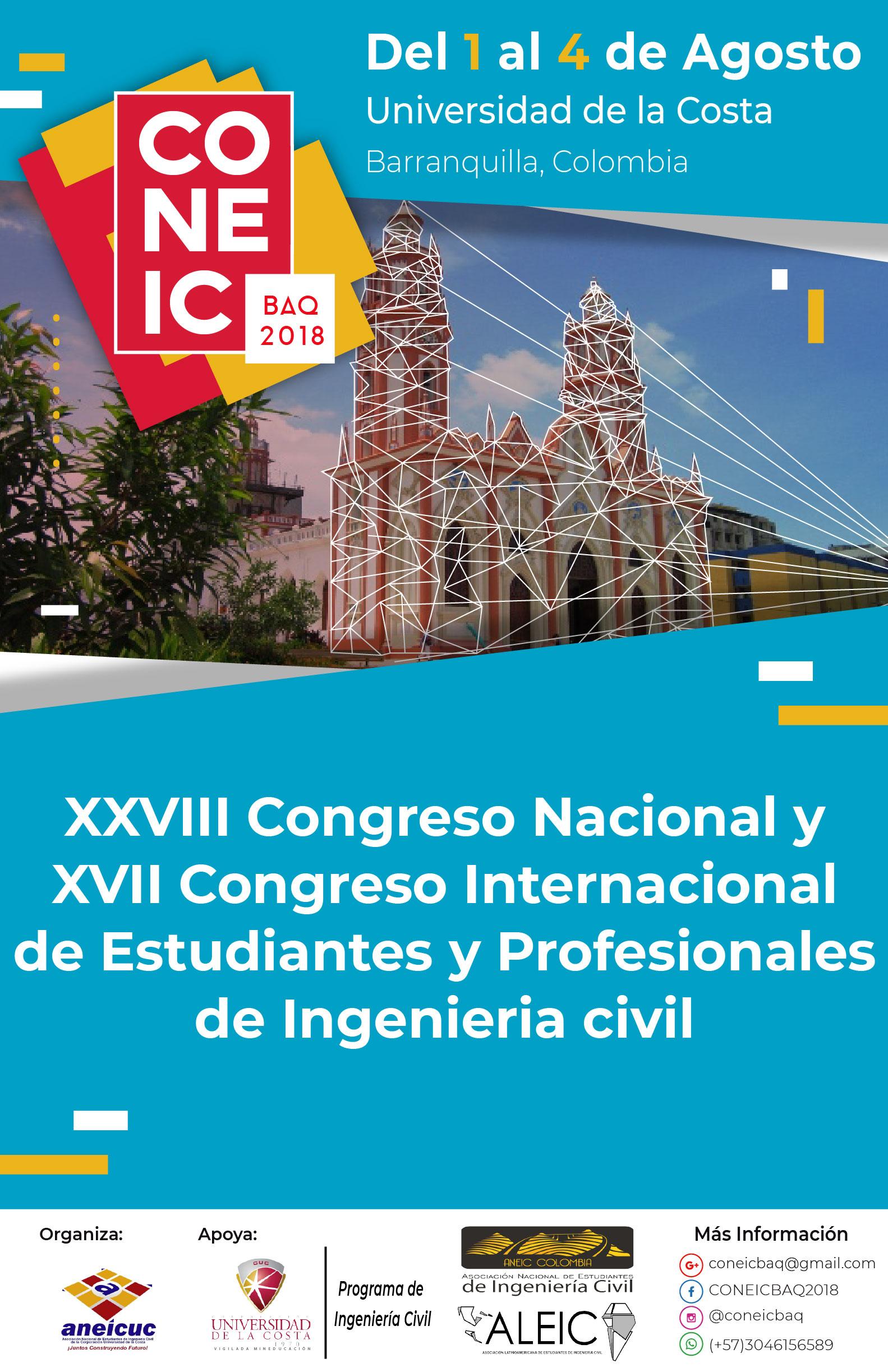 La CUC será sede del Congreso Nacional e Internacional de Estudiantes y Profesionales de Ingeniería Civil CONEIC BAQ 2018