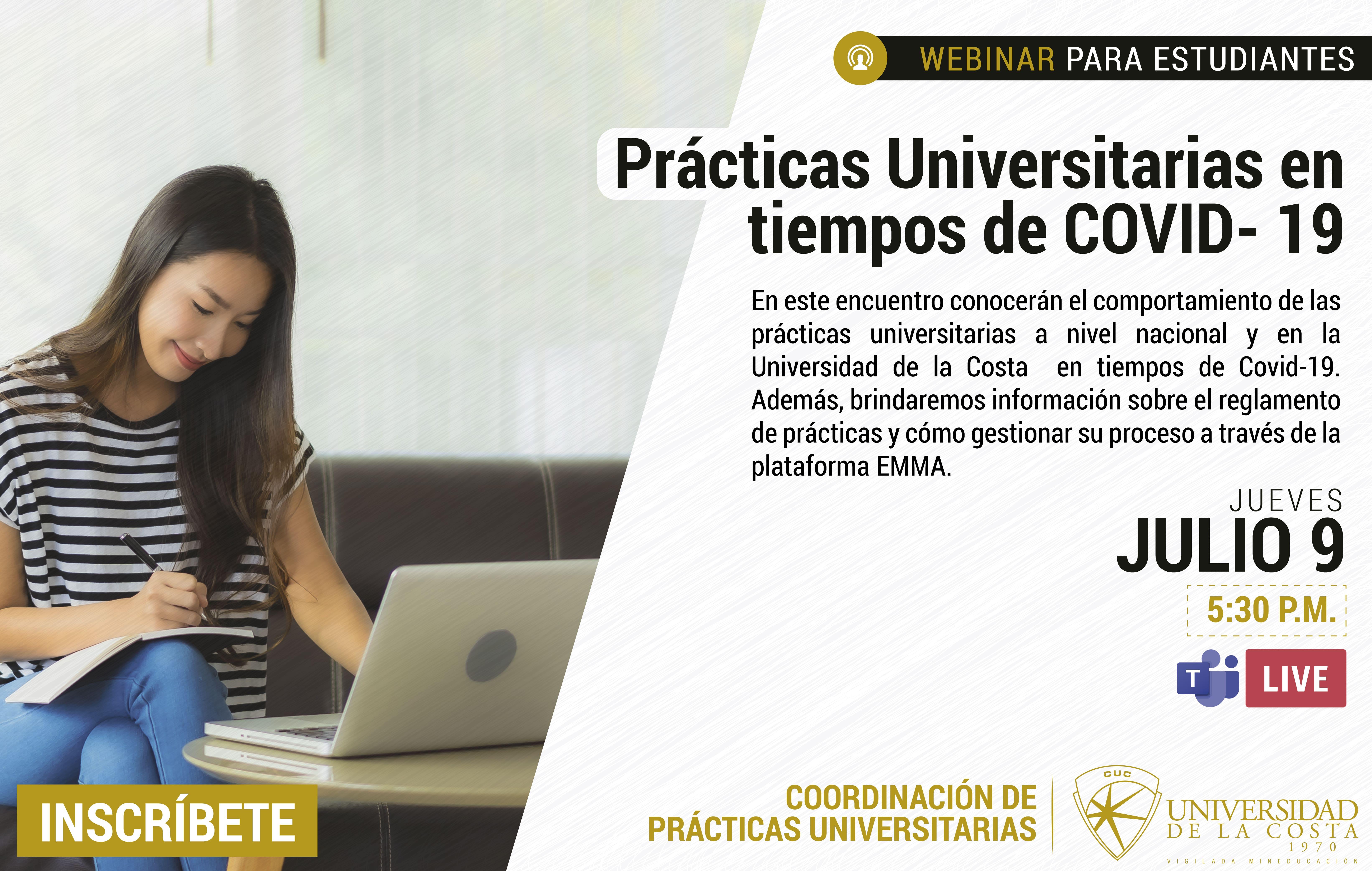 """Webinar """"Prácticas Universitarias en Tiempos de Covid-19"""""""