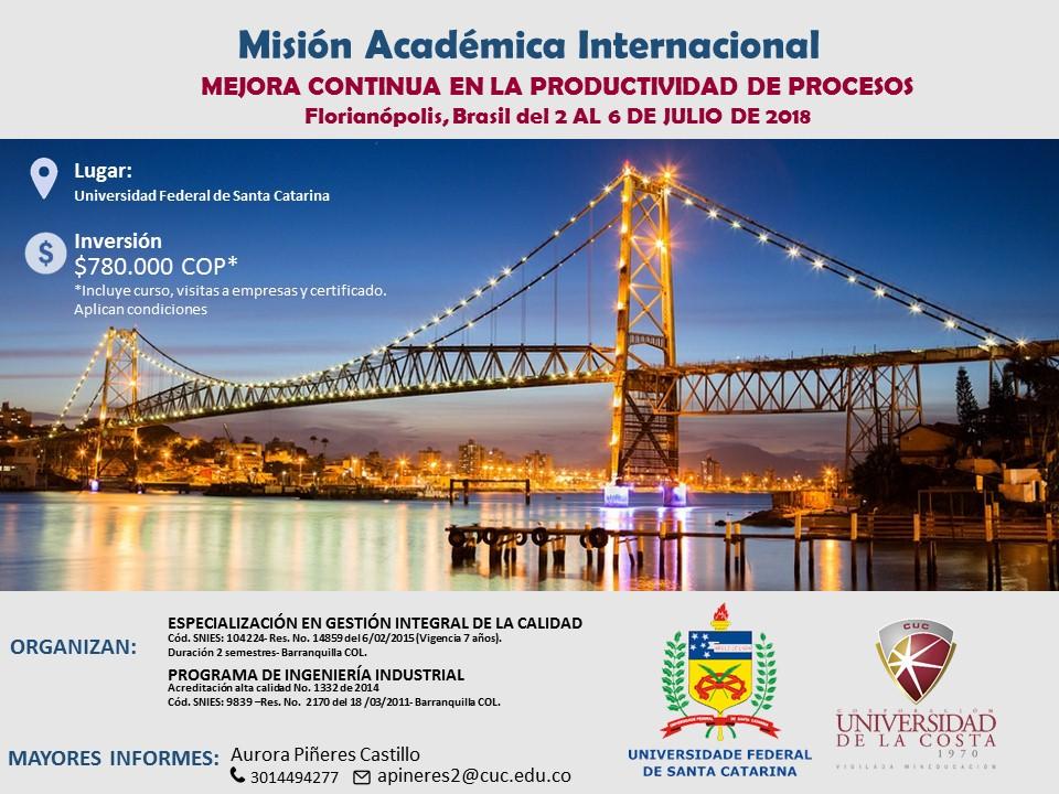 Misión académica a la Universidad Federal de Santa Catarina de Brasil