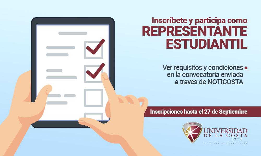 ¡Inscríbete como candidato para ser Representante Estudiantil!