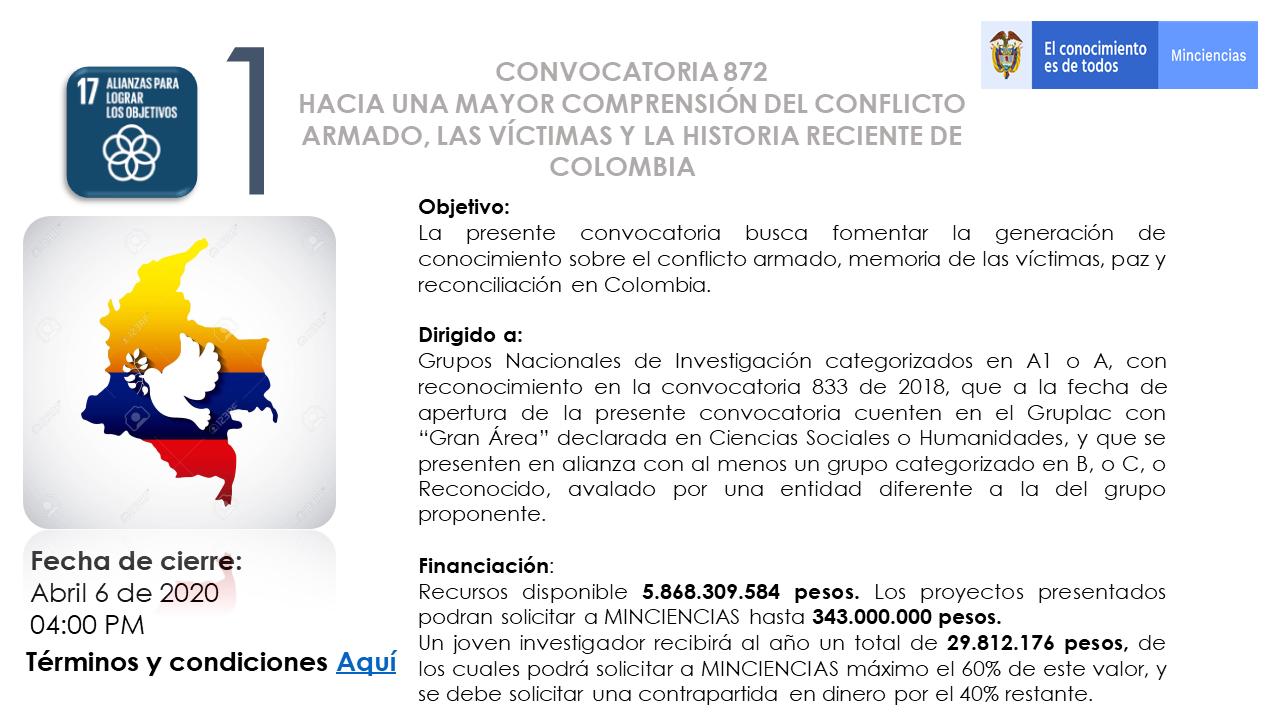 BOLETÍN ESPECIAL DE CONVOCATORIA MINCIENCIA– UNIDAD DE PROYECTOS – VICERRECTORÍA DE INVESTIGACIÓN Y DESARROLLO