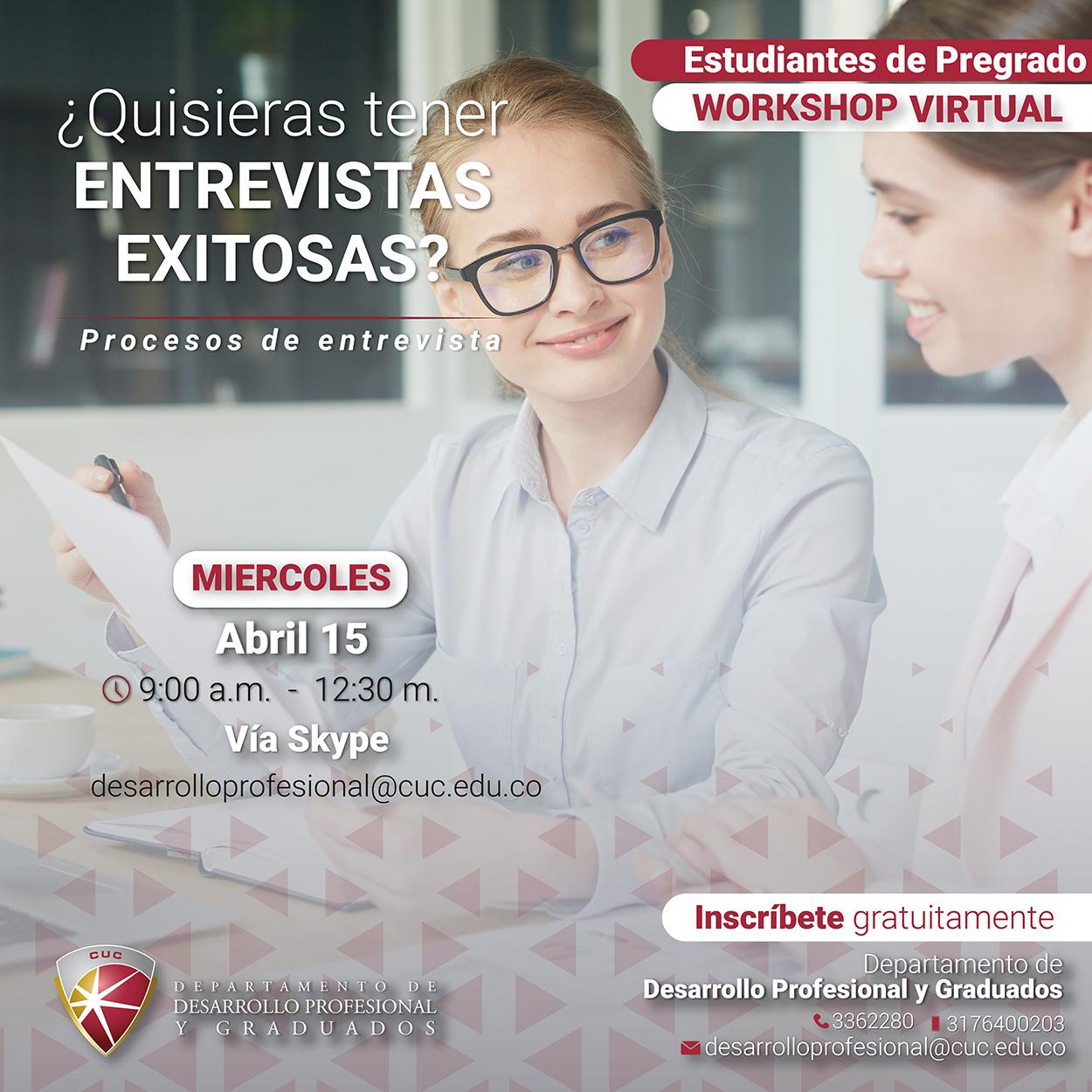 Workshop virtual: 'Entrevistas laborales exitosas'