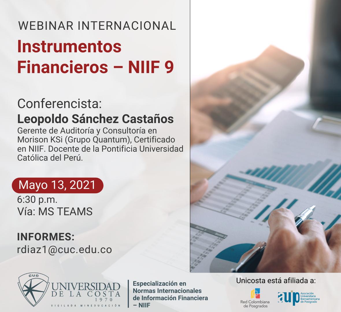 """Webinar internacional """"Instrumentos Financieros – NIIF 9"""