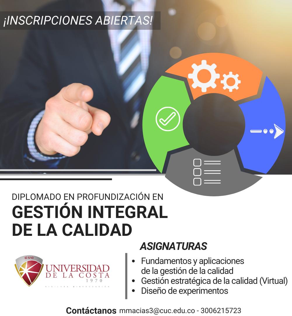 diplomado gestion Integral calidad universidad de la costa cuc