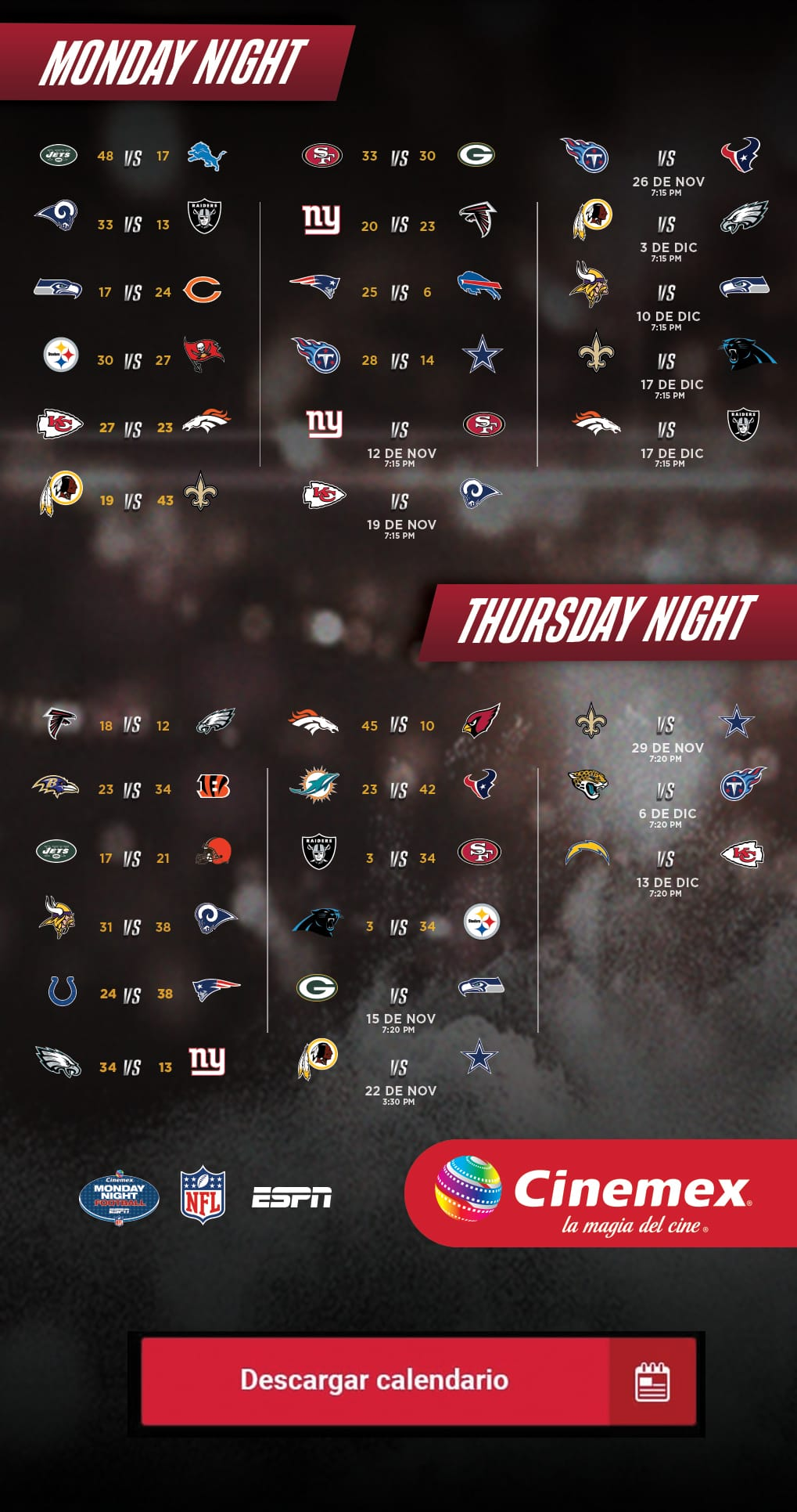 Calendario Cinemex NFL