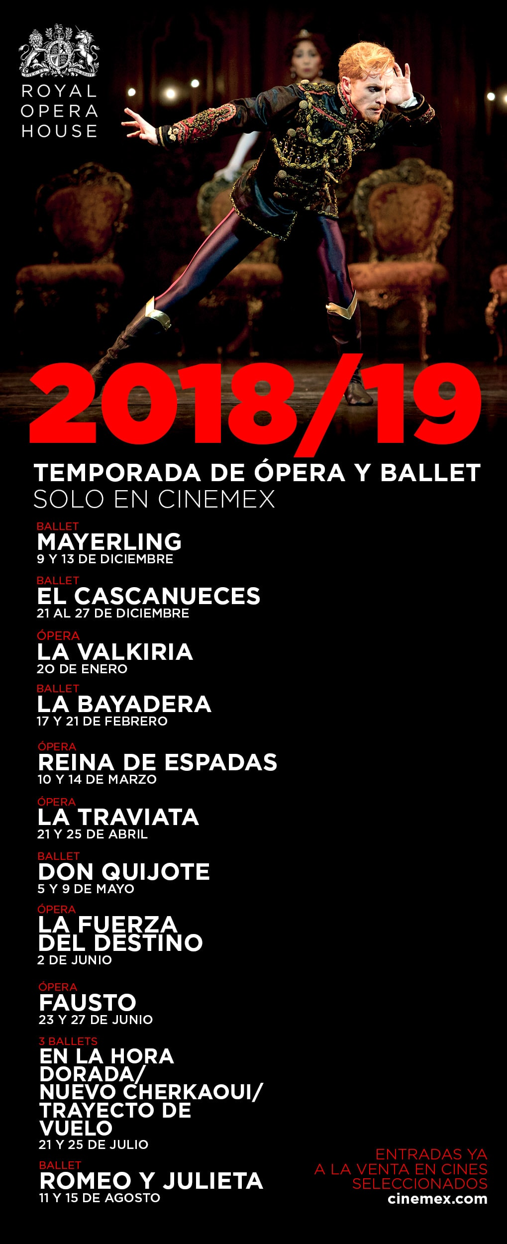 Calendario de Royal Opera House en Cinemex