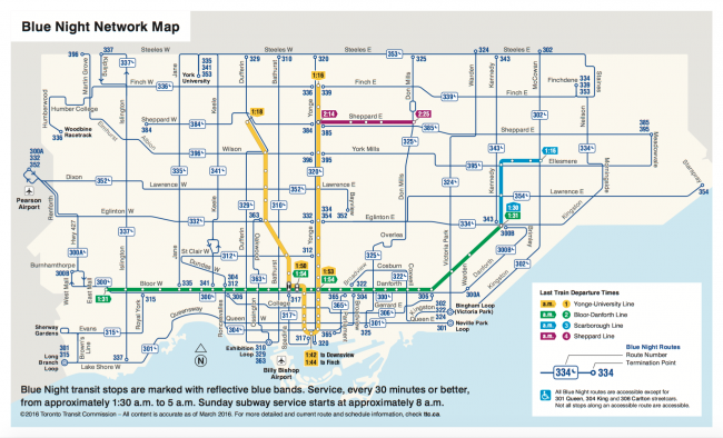 Map of Toronto's Blue Night Network