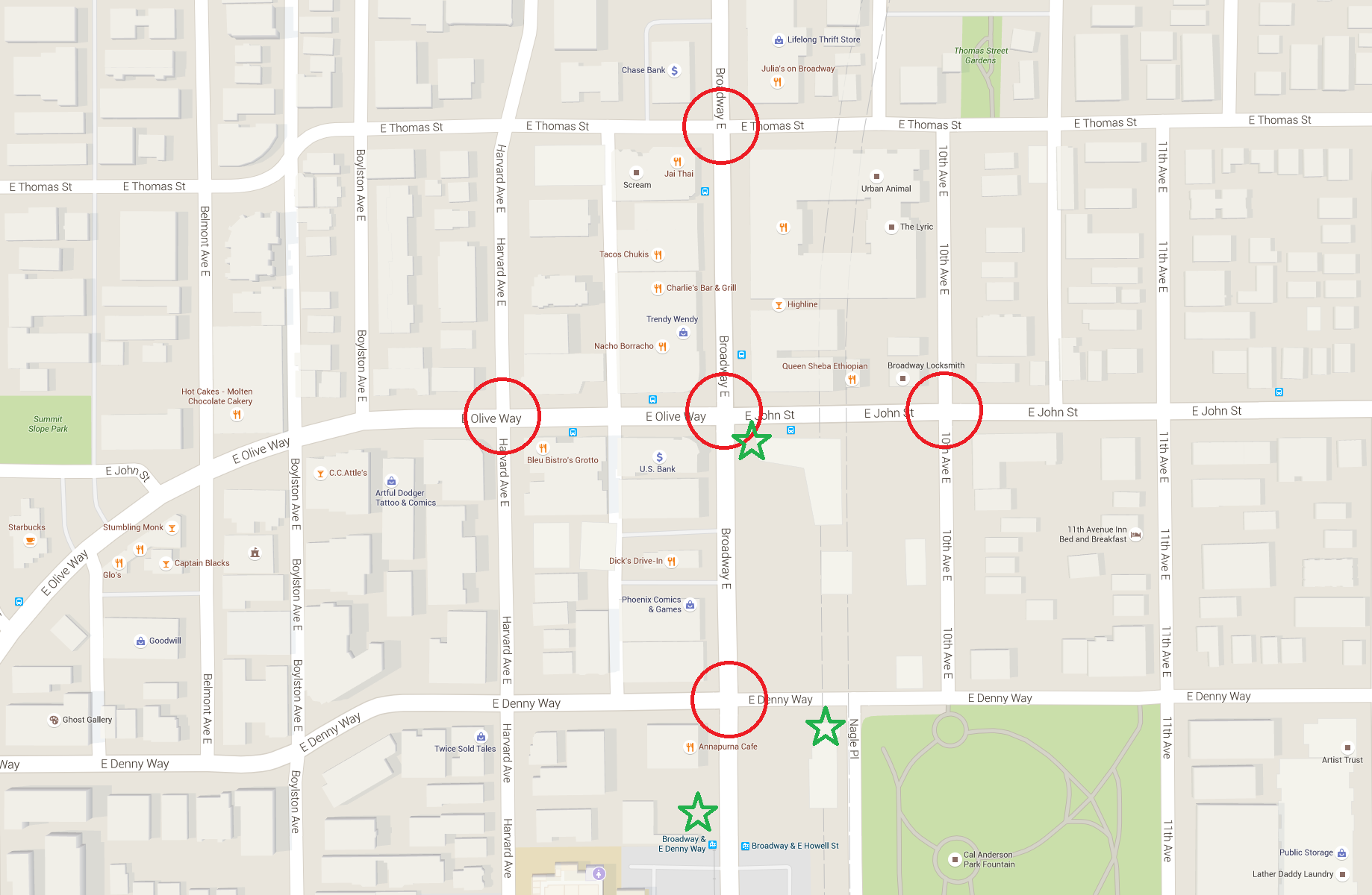 Assessed intersections are circled in red, station entrances are marked with green stars.
