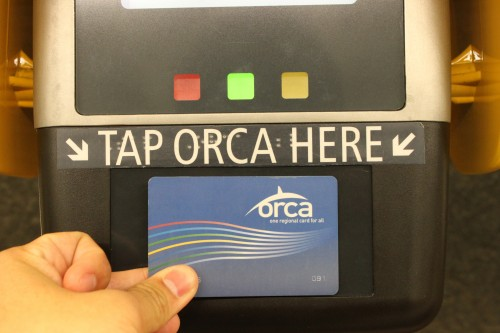 """Tap your Husky Card on ORCA readers to """"pay"""" for the ride."""