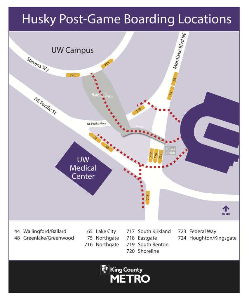 """Post-game shuttle boarding locations.  """"Sound Transit"""" is UW light rail station."""