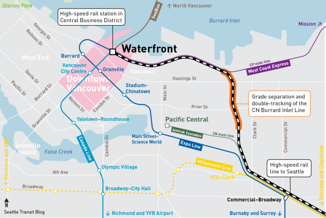 Vancouver station options: Waterfront, Pacific Central