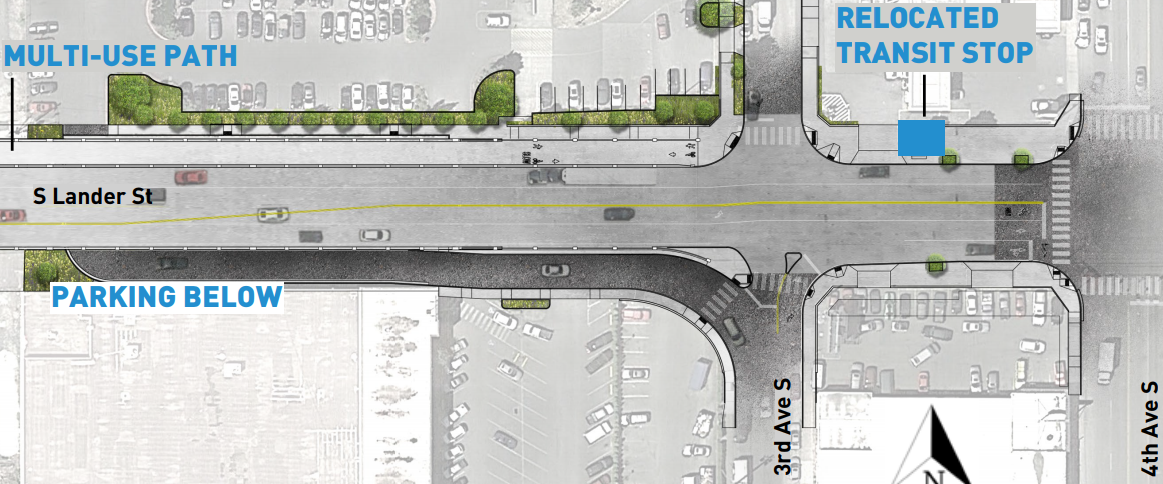 SDOT Lander St design, showing north side mixed use path and no pedestrian access on south side