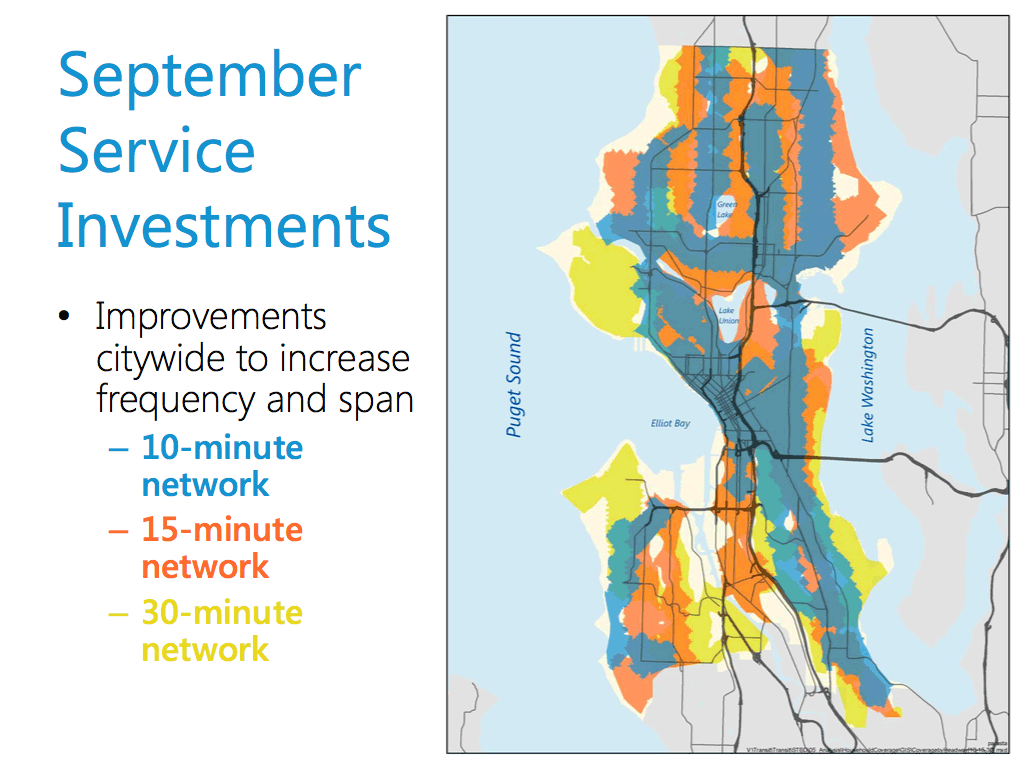 map showing coverage of Seattle's transit network by frequency, most of the city is covered by 15-minute servuce