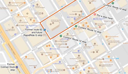 Map showing stops described in post
