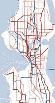 Map showing Metro's plan for frequent service in the city in 2040