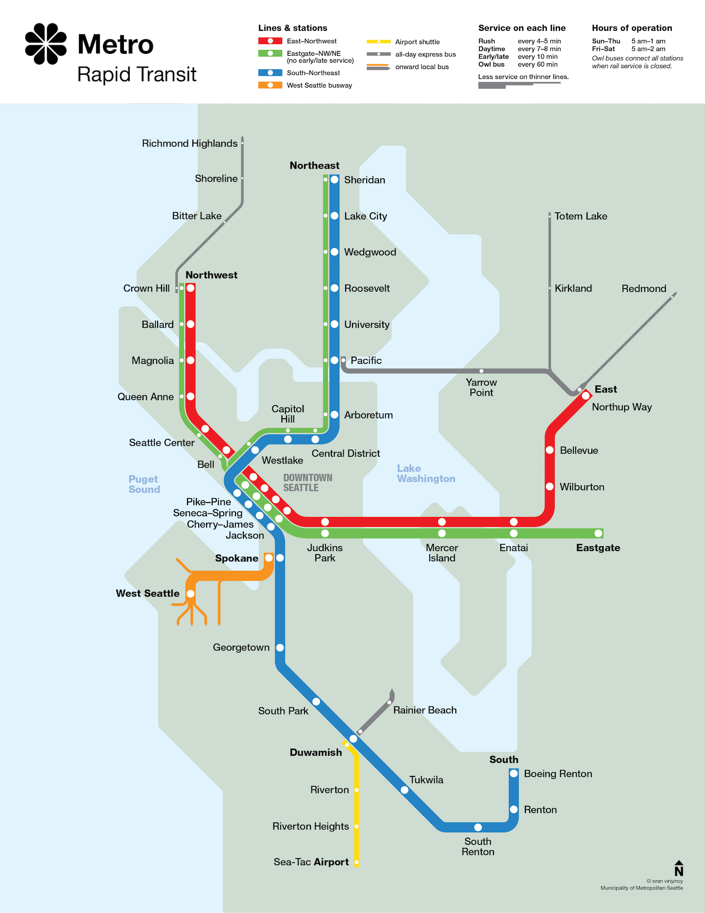 "Seattle Metro Rapid Transit Map ""circa"" 1990"