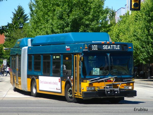 KCM coach 6854 running route 101 with test white LED signage
